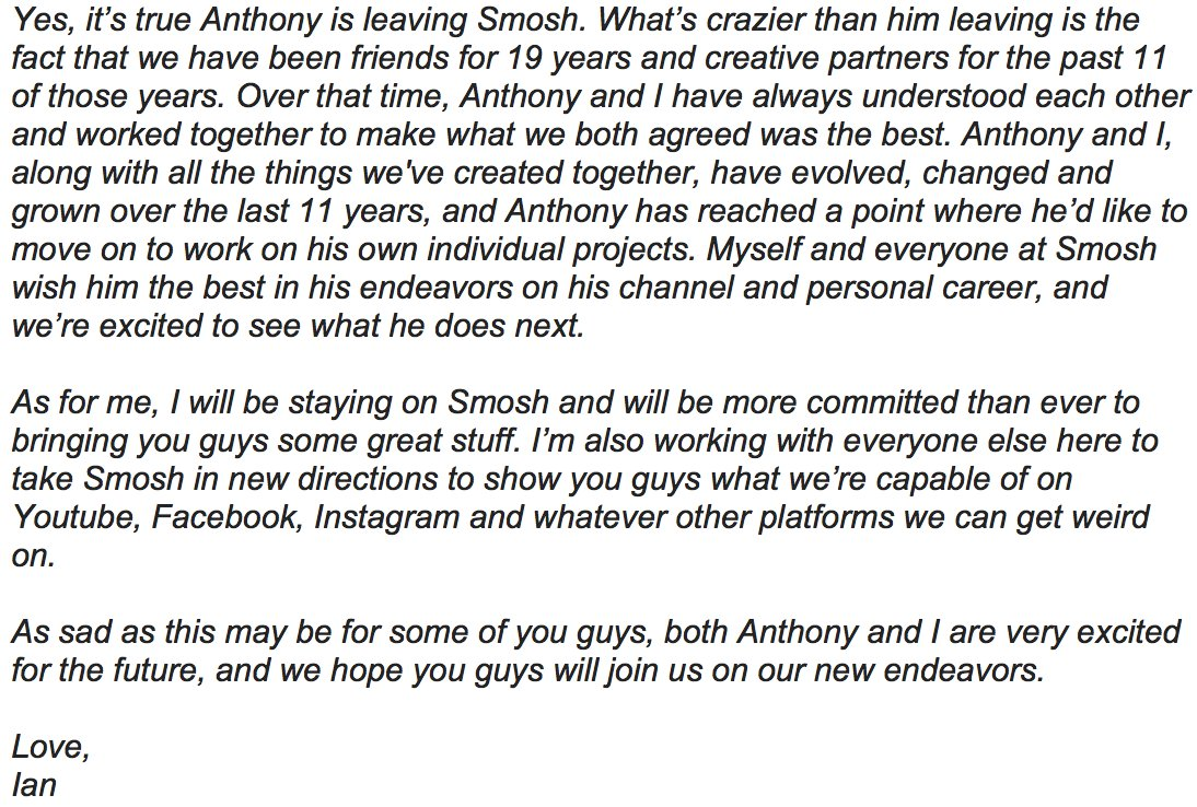 Sad that Anthony is leaving, but so excited for the future of Anthony, and myself with Smosh