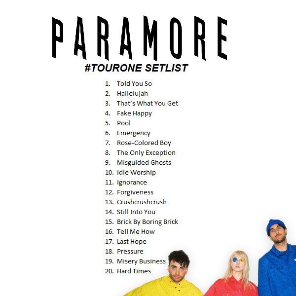 Paramore Tour Two Setlist | lifehacked1st.com Paramore Setlist