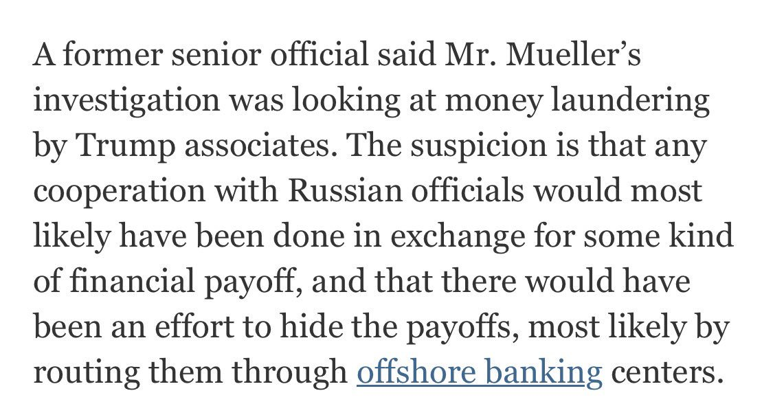 Per WaPo and NYT: THREE components to Mueller investigation of Trump: 1. Obstruction of Justice 2. Russian Collusion 3. Money-laundering