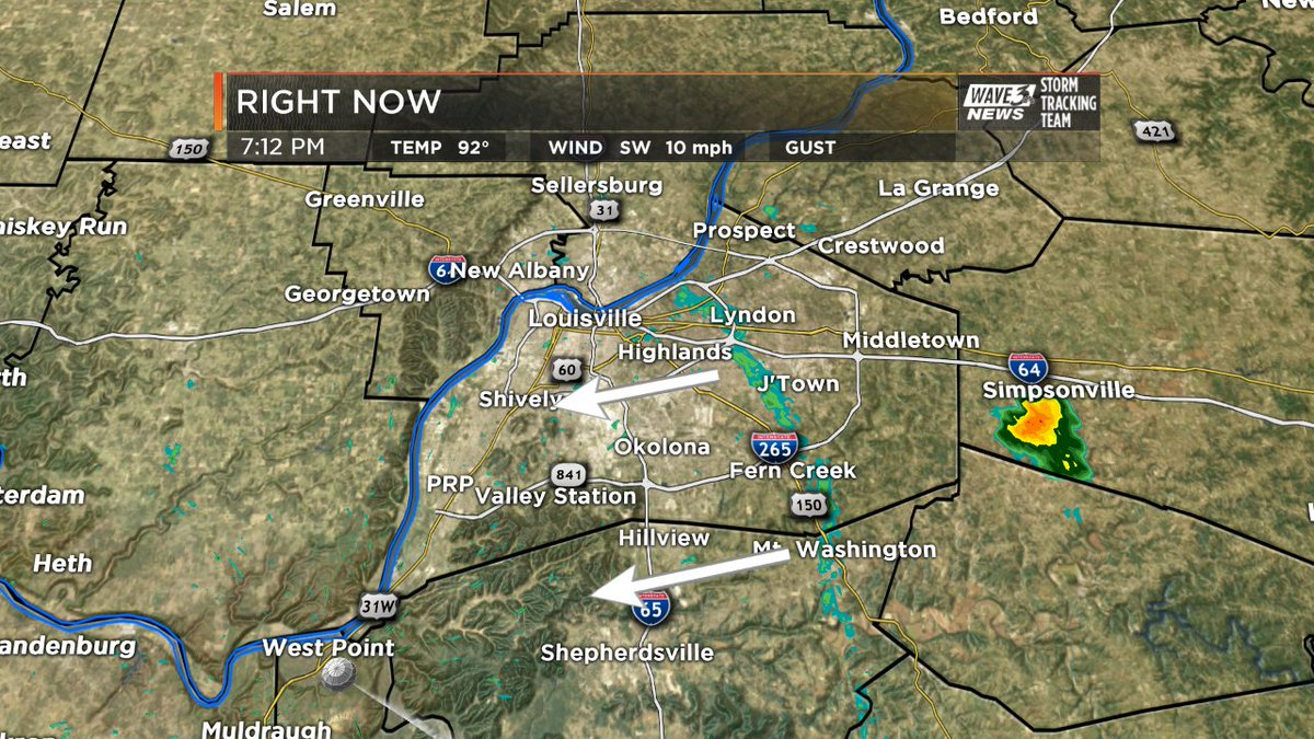 Outflow boundary quietly moving through #Louisville. May spark a downp...