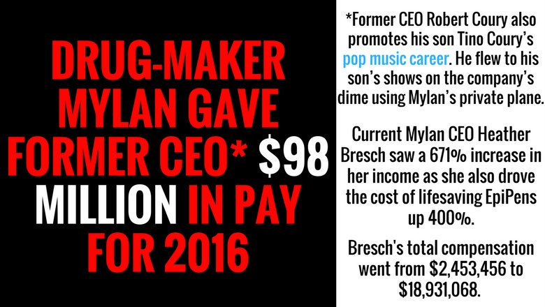 Sen. Manchin's daughter, Mylan CEO, increased EpiPen cost 400% then gave herself & former CEO raise  https://t.co/3SZRmjFf5g#WednesdayWisdom