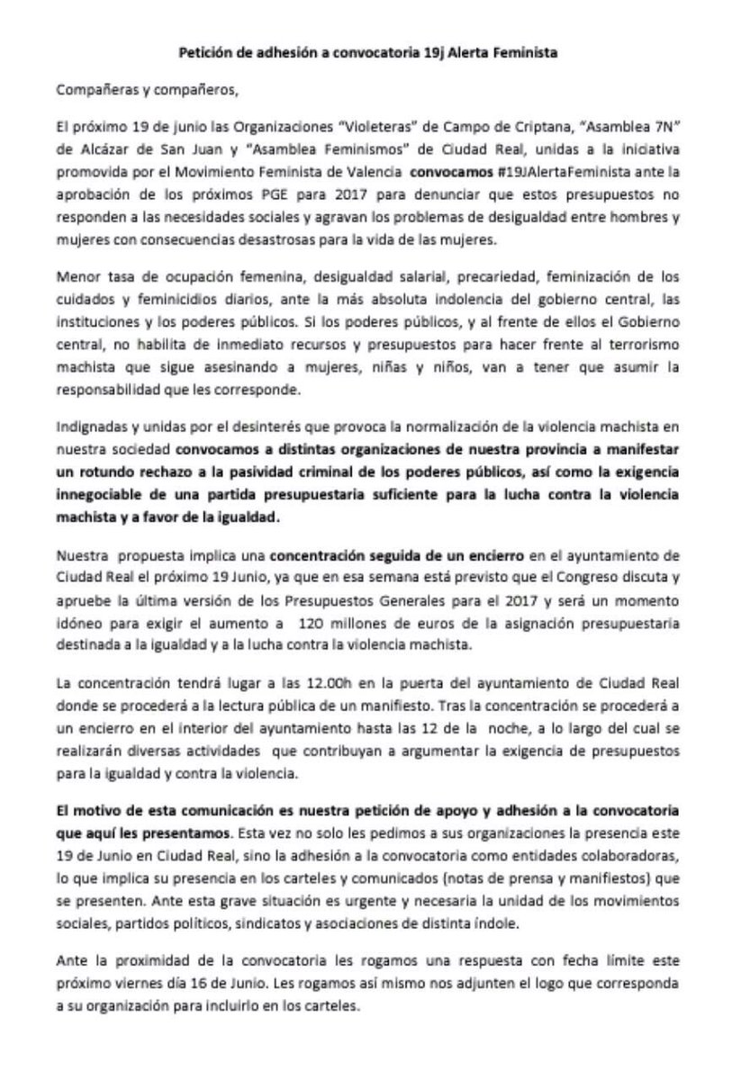 Petición de adhesión #19JAlertaFeminista...