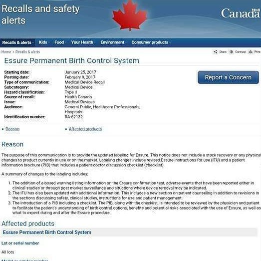 #Canada  cares!  They were able to silently remove #essure #unitedkingdom #brazil #spain #canada #finland #essure #essureproblems<br>http://pic.twitter.com/e7X9uvMQzp