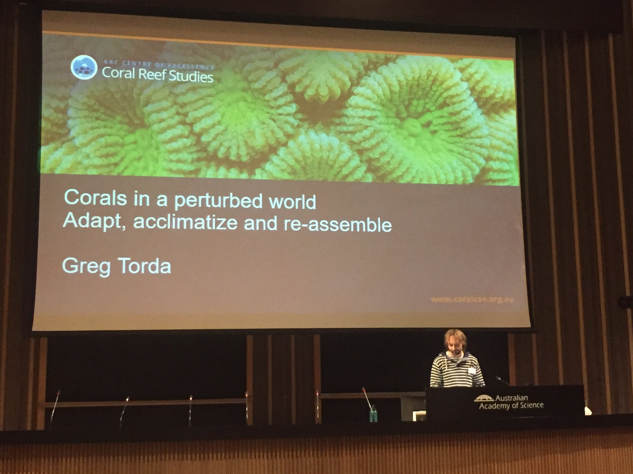 Corals Assemble! @DrGregTorda explains the 3 A's of coral change: adapt, acclimate, & assemble. @CoralCoE #CORAL17 https://t.co/by8v7OEPoF