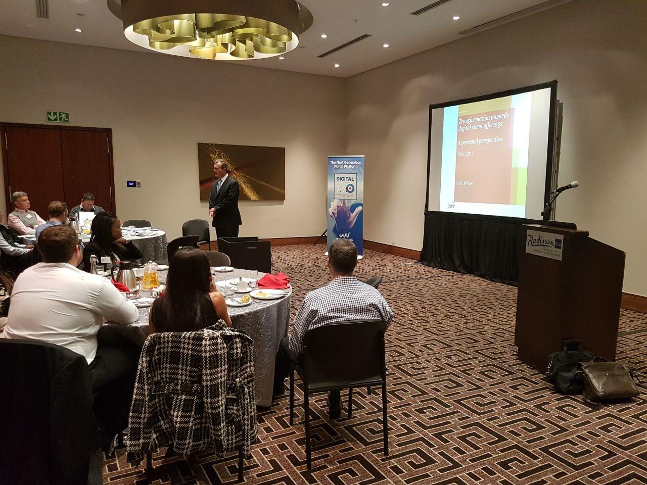 Andy Wilson is addressing Objectway's breakfast seminar on digitization of wealth management in Johannesburg #breakbrief https://t.co/5WP2dzNTu6