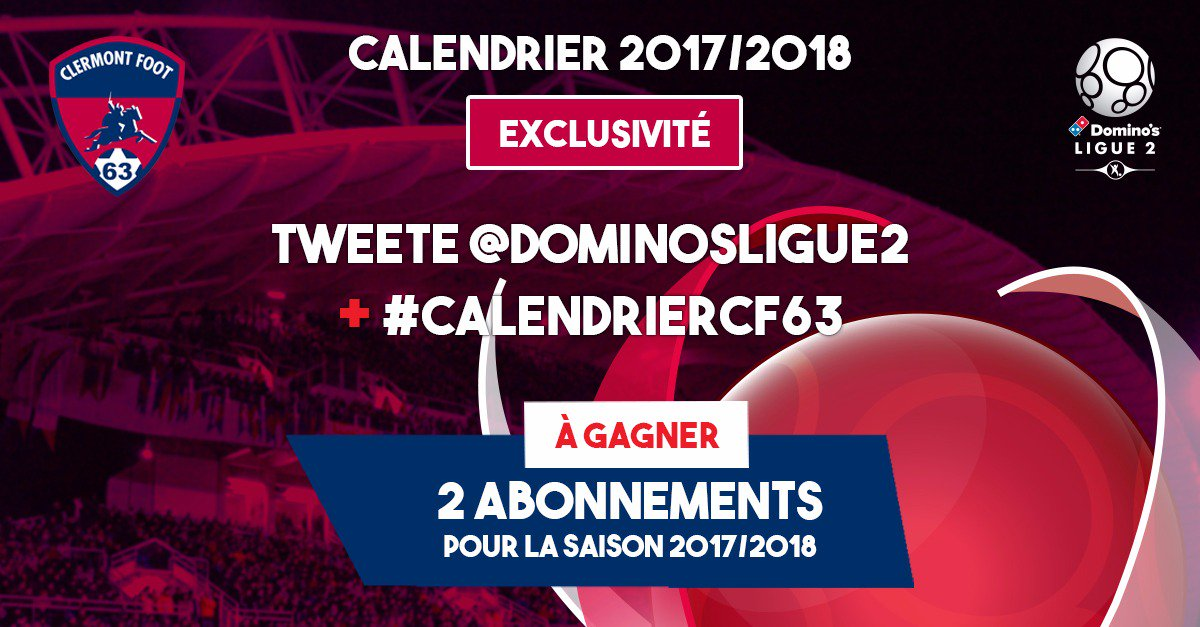 Calendrier Clermont Foot.Clermont Foot 63 On Twitter Le Calendrier 2017 2018 Est