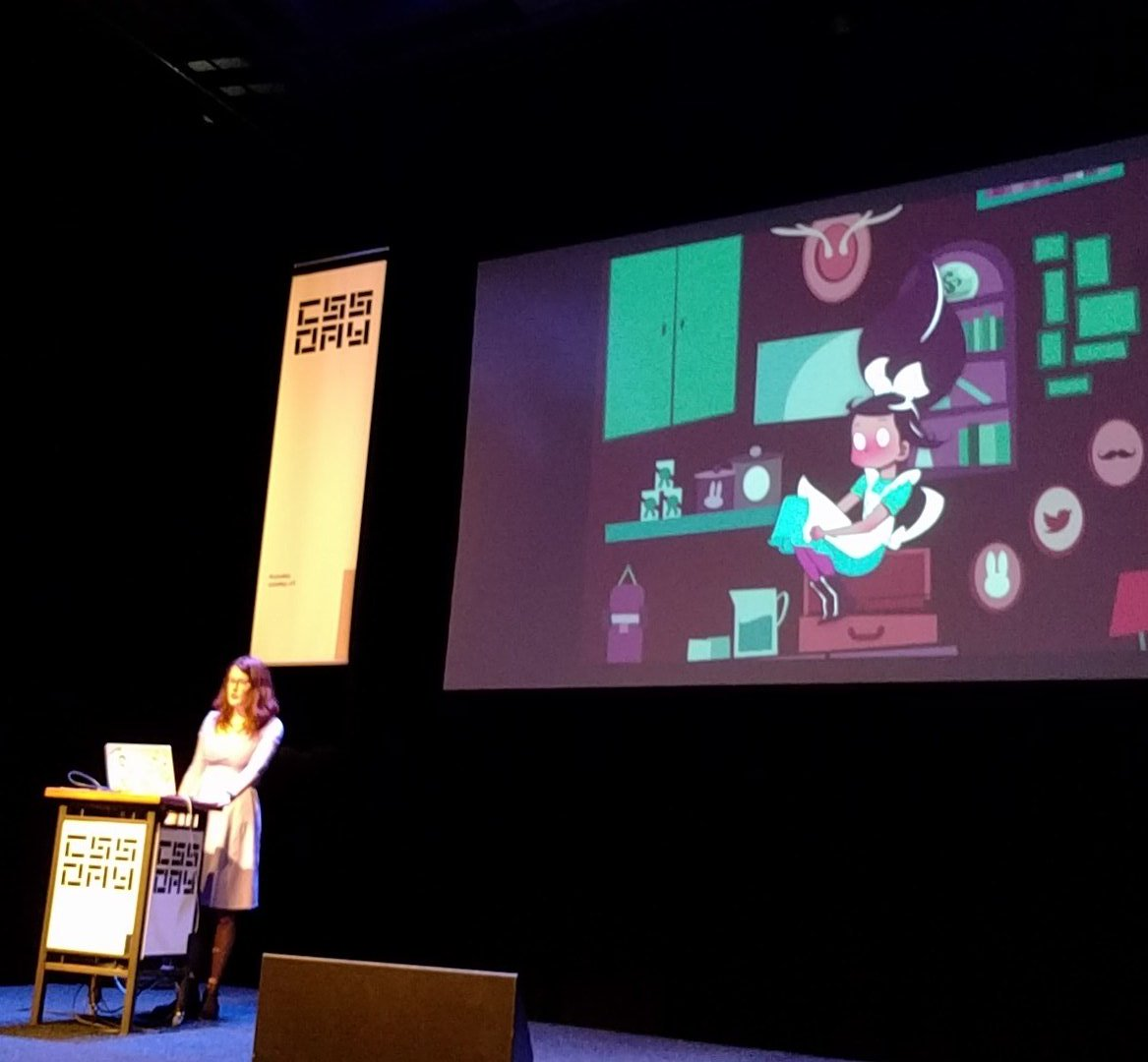 10mins in and already super inspired, fangirling over @rachelnabors slides, content and beautifully delivered talk #cssday https://t.co/QvbTq8TgUO