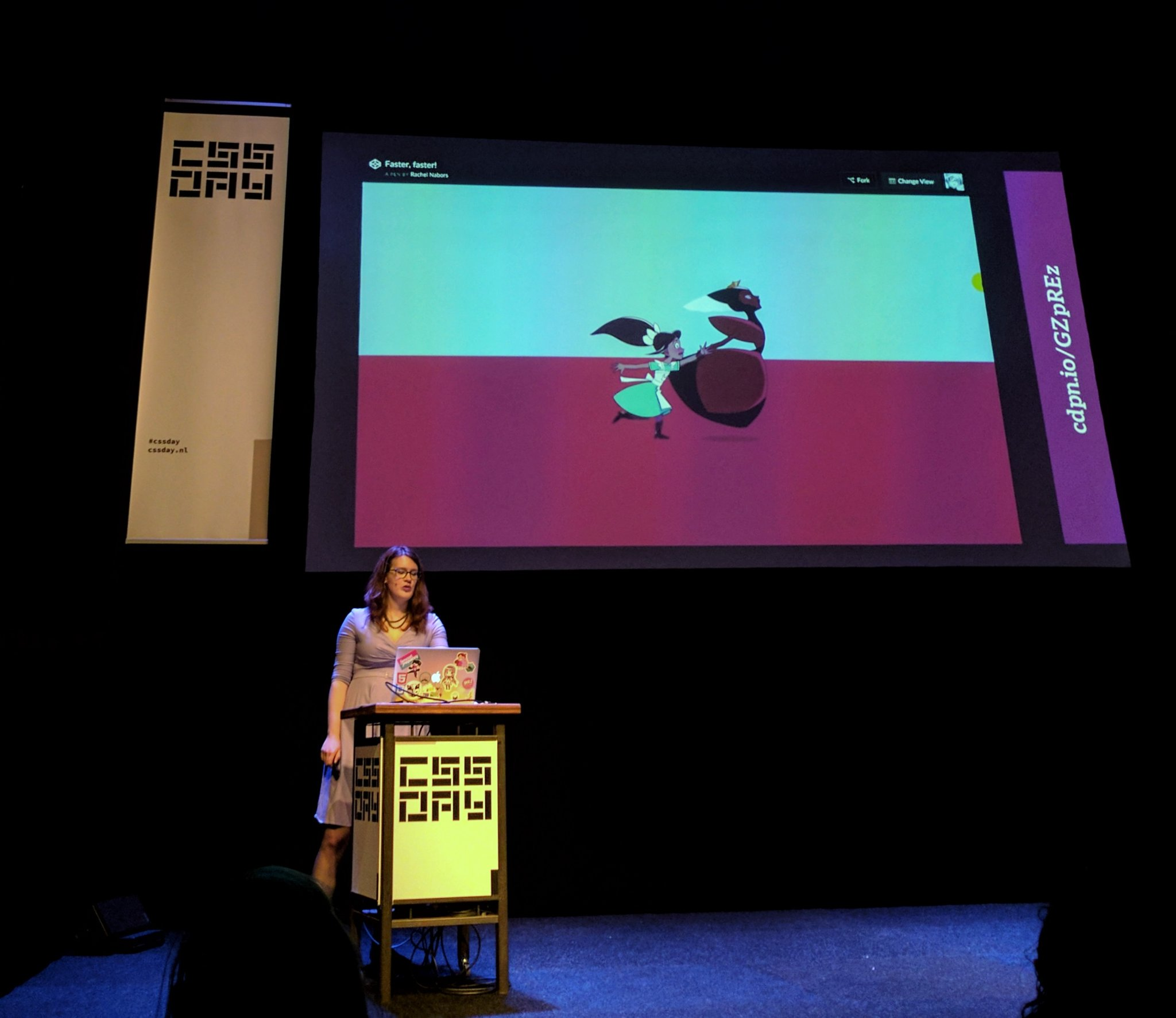 """If there's a Queen of """"teaching-you-cool-web-stuff-with-cartoons"""", it surely is @rachelnabors 😍🎨🦄✨ #cssday https://t.co/SzBVaviBFG"""