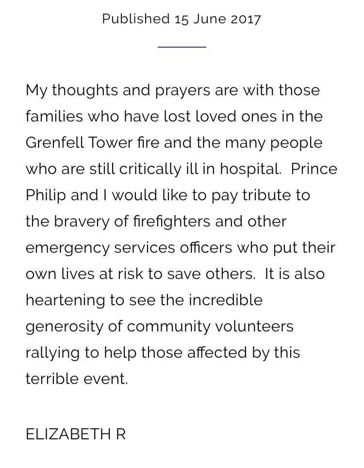 HM The Queen's statement on the #Grenfelltower fire