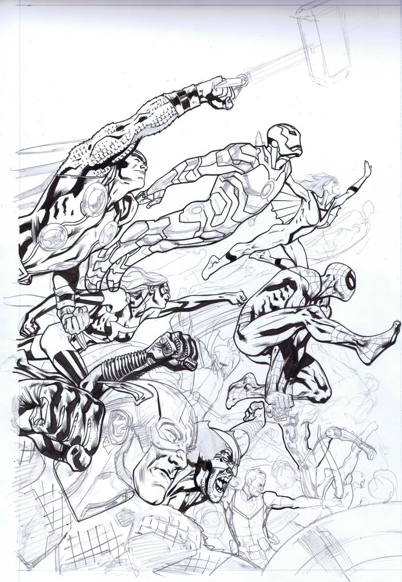 an unfinished Avengers cover I found whilst hunting for something else in the drawer... https://t.co/u9WjzPXwSb