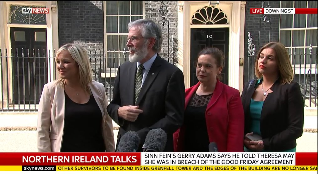 Sinn Fein's @GerryAdamsSF says he told PM @theresa_may in Number 10 she was 'in breach of the Good Friday Agreement'
