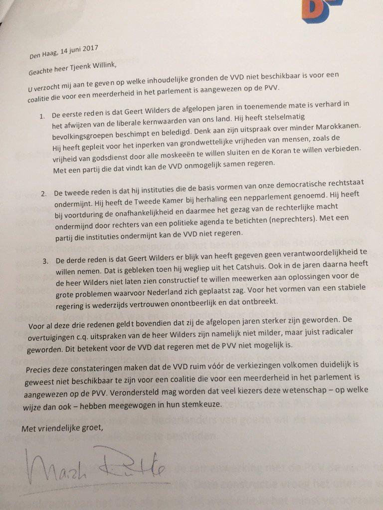 Tjeenk Willink vroeg aan VVD en CDA om op te schrijven waarom zij PVV blokkeren. Dit is nooit meer terug te draaien https://t.co/BfoYlnErnR