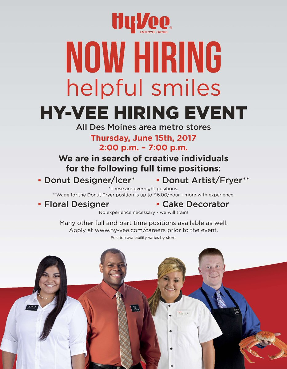 Don't forget about our Hy-Vee Hiring Event today from 2pm to 7 pm! #de...
