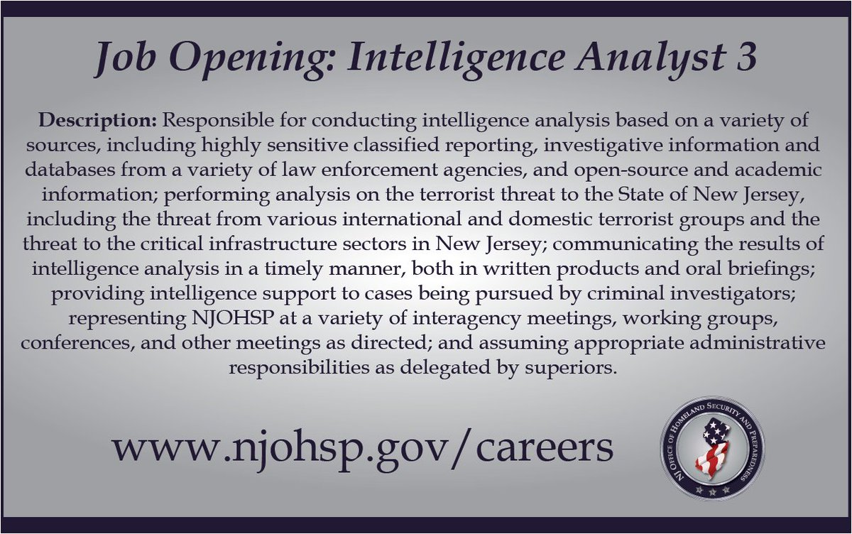 Security Jobs In Nj >> Nj Homeland Security On Twitter New Job Opening For An