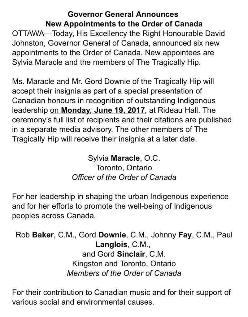 New Order of Canada recipients include all the members of The Tragically Hip. https://t.co/wYjdIoUSi9
