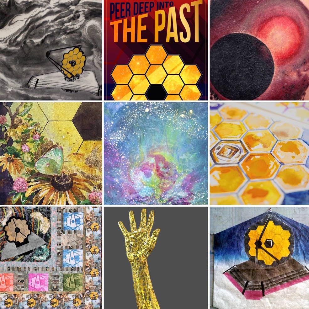 Local to @NASAGoddard? Our free Visitor Center exhibit of @NASAWebb inspired art now runs through July 2! https://t.co/HGcrDN6POI #JWSTart https://t.co/TTTn7F7GuZ