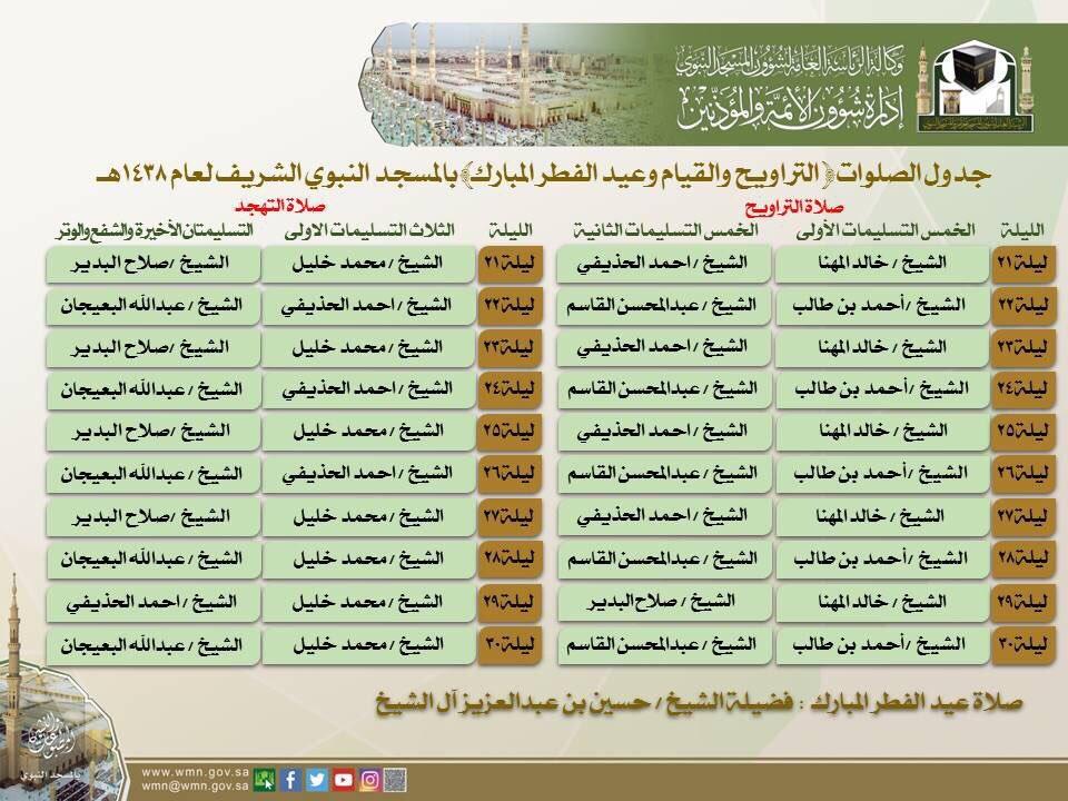 هاشتاق السعودية בטוויטר جدول صلاة التراويح والتهجد في العشر الأواخر من رمضان في المسجد الحرام و المسجد النبوي