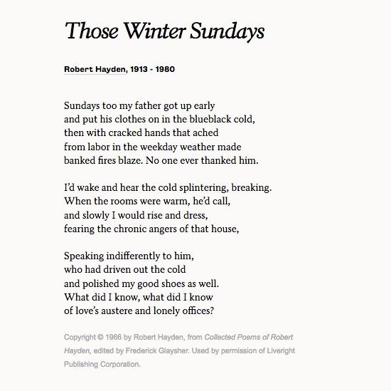 those winter sundays by robert hayden Born asa bundy sheffey into a poor family, robert hayden's parents left him to be raised by foster parents due to extreme nearsightedness, hayden turned to books rather than sports in his childhood.
