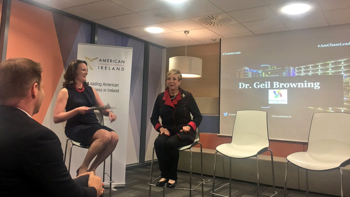 Delighted to hear from brilliant @EmergeneticsEU founder Dr. Geil Browning at tonight&#39;s @AmericanChamber #Teamovate #AmChamLeaders evening!<br>http://pic.twitter.com/Uch4c2urVV