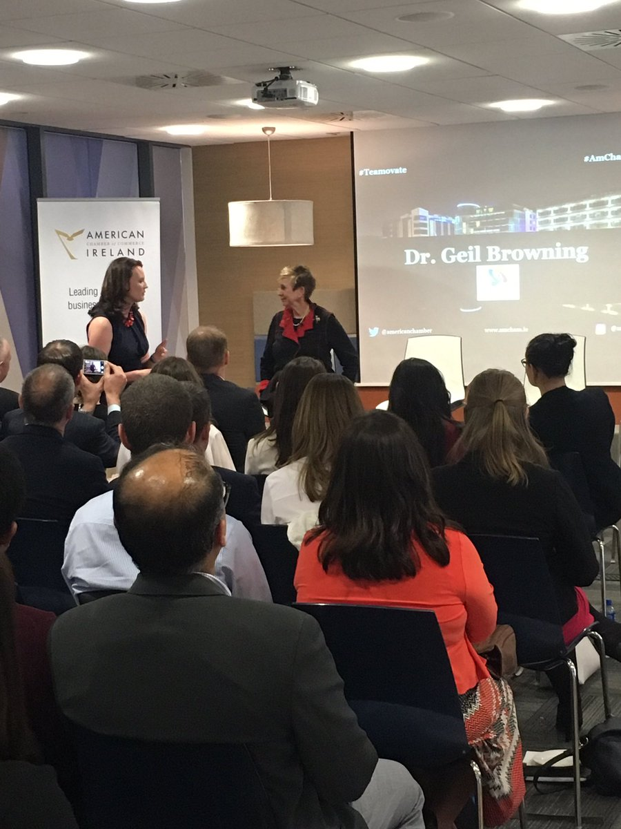 A great crowd this evening listening to Dr. Geil Browning at @Microsoftirl with an @AmericanChamber panel #Teamovate #amchamleaders<br>http://pic.twitter.com/ypDK2XMuR8