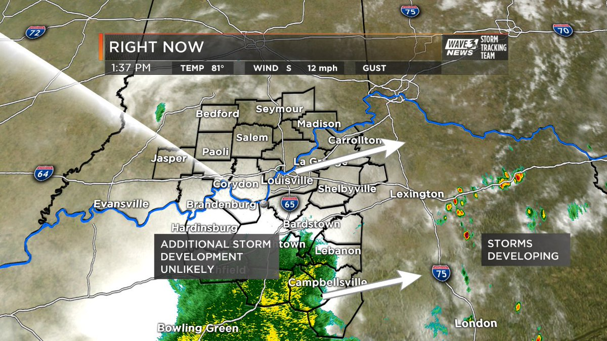 Clouds over most of our area and rain in S. KY will likely prevent add...