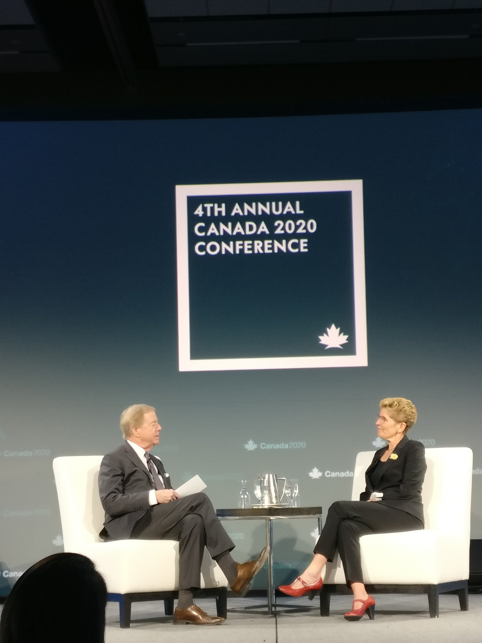 Don Newman and Premier @Kathleen_Wynne having a fireside chat about building a fair and innovative economy. #Canada2020 https://t.co/GIRu6U6yuJ