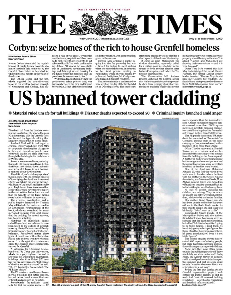 To save £5k they didn't use fire resistant cladding. £5k. https://t.co/UmFQpJwLKr