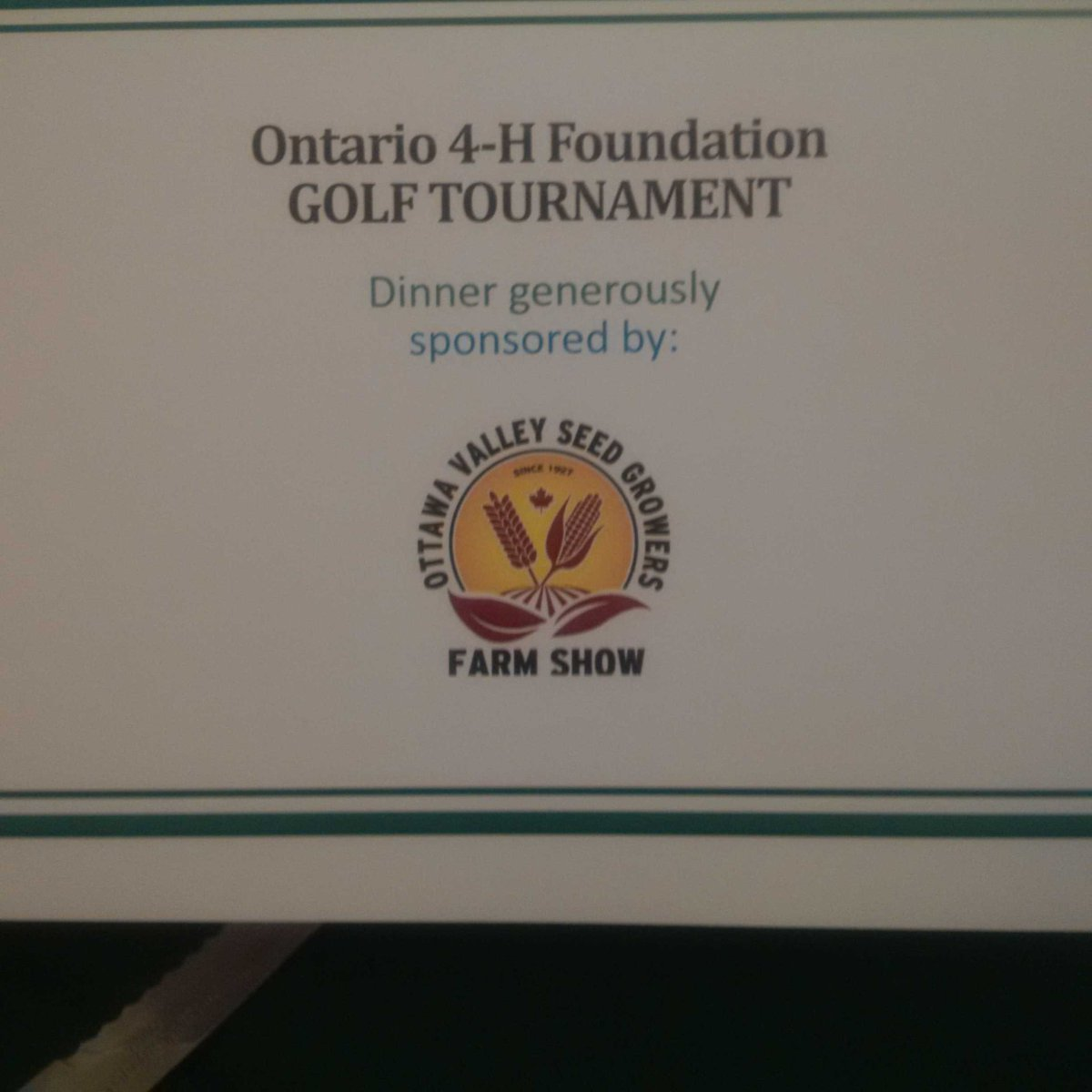 Great day at @4HOnt Golf Tournament. Looking forward to dinner sponsored by @ottawafarmshow https://t.co/GQyCKJXEyM