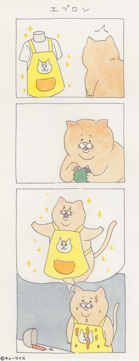 4コマ漫画ネコノヒー「エプロン」/apron