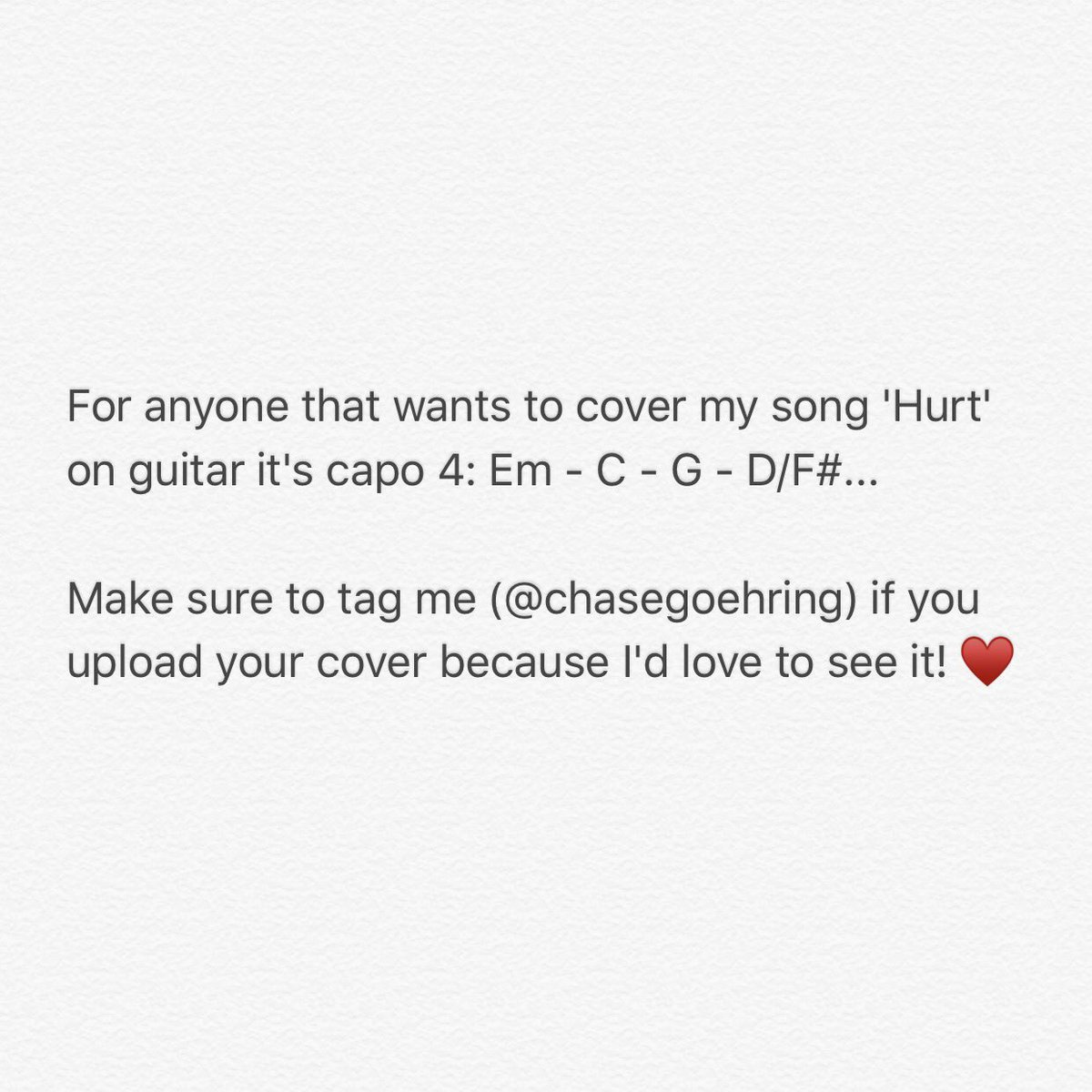 Chase Goehring On Twitter For Anyone That Wants To Cover My Song
