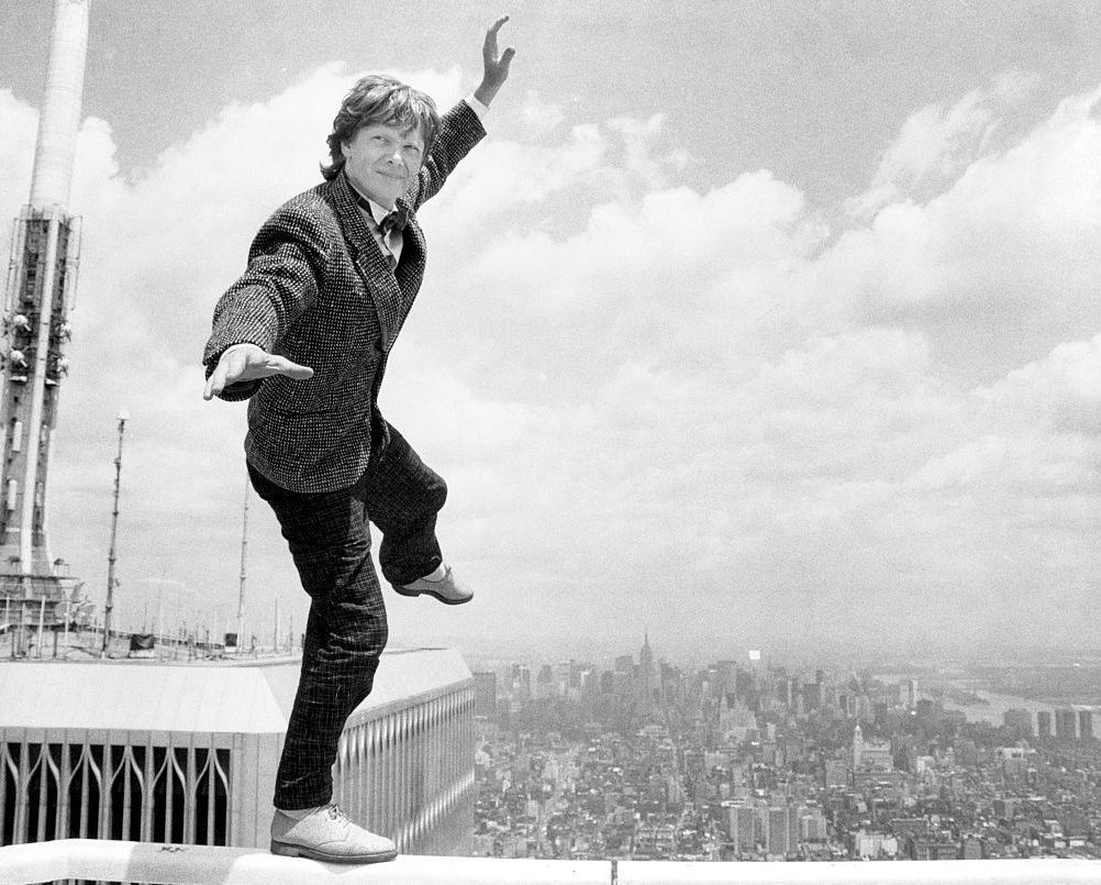 philippe petit sane wire walker essay On august 7, 1974, philippe petit, a french wire walker, juggler, and street performer days shy of his 25th birthday, spent 45 minutes walking, dancing, kneeling, and lying on a wire he and friends strung between the rooftops of the twin towers uses contemporary interviews, archival footage, and.