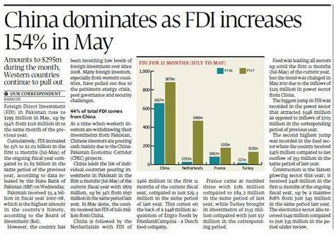Foreign Direct Investment FDI in #Pakistan Increases by 154% Year on Year. Major Inflows from #China, #Netherlands, #France and #Turkey.<br>http://pic.twitter.com/wJSGt55iDQ