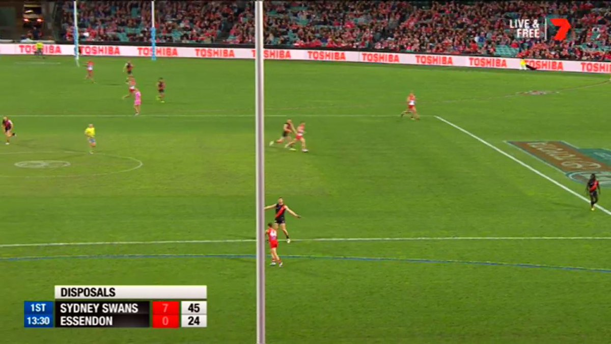 Joe Daniher goes BANG with this long bomb. #AFLSwansDons https://t.co/...