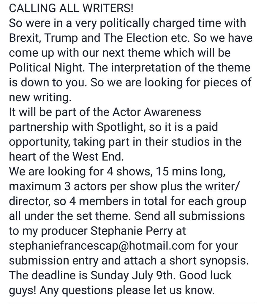 CALLING ALL WRITERS! #political #politics #conservatives #labour #trump #Brexit #theatre #casting #actor #actress #writer #director #london<br>http://pic.twitter.com/Lv0hPZgtP0