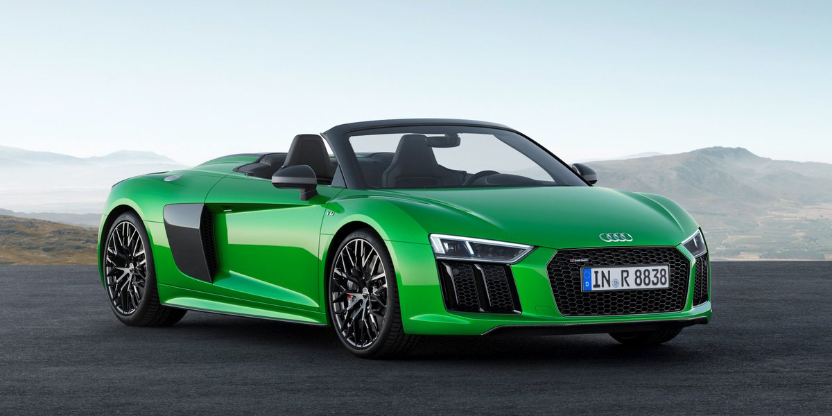 Here\'s your weekend tongue twister: Saw a jaw-dropping droptop.  #AudiR8 #Spyder #V10plus