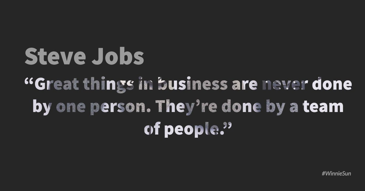 Great things in business are never done by one person. They're done by a team of people - Steve Jobs #quote #teamwork<br>http://pic.twitter.com/GMM0DgF6XW