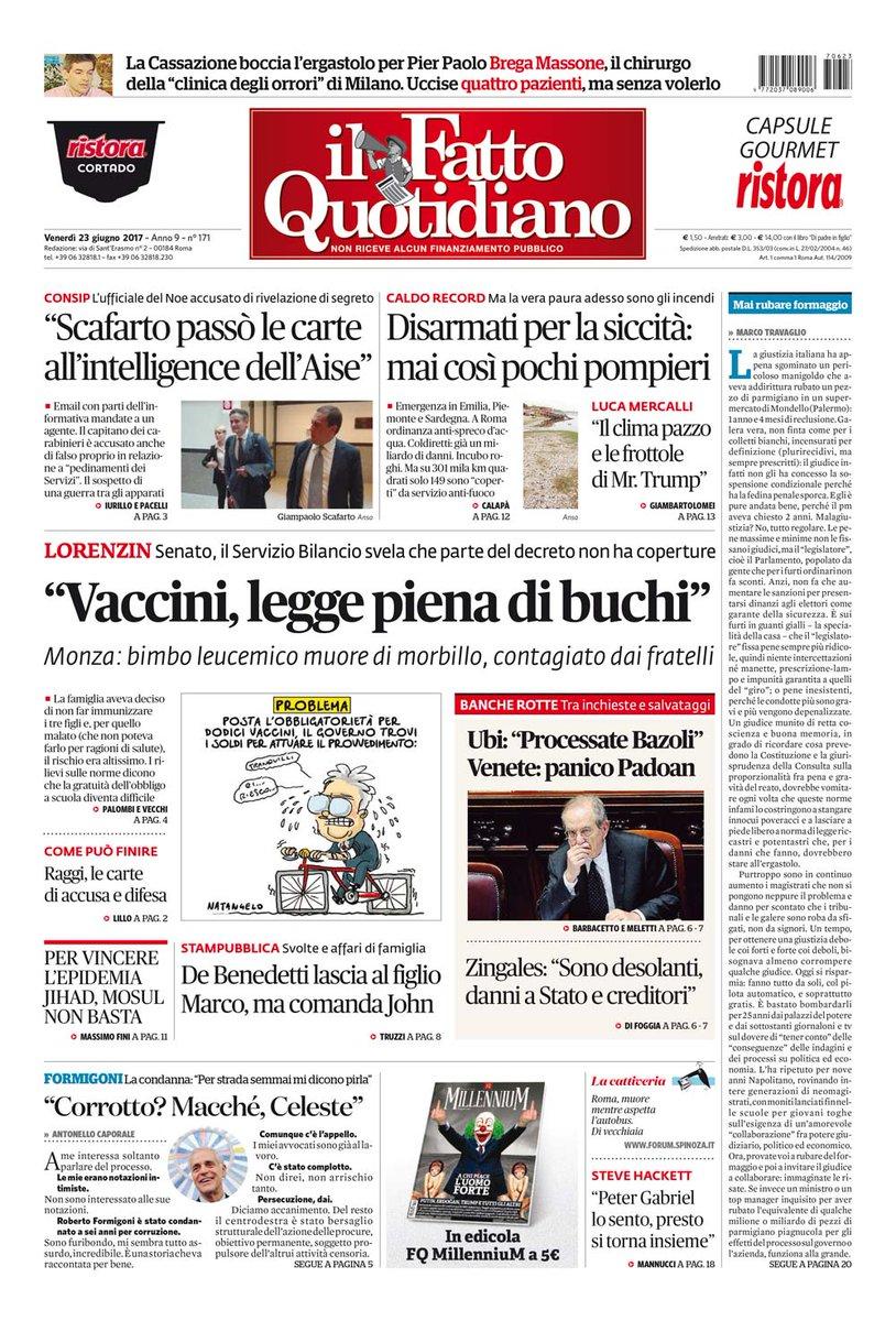 'Vaccini, legge piena di buchi' (#Primapagina Il Fatto Quotidiano #23g...