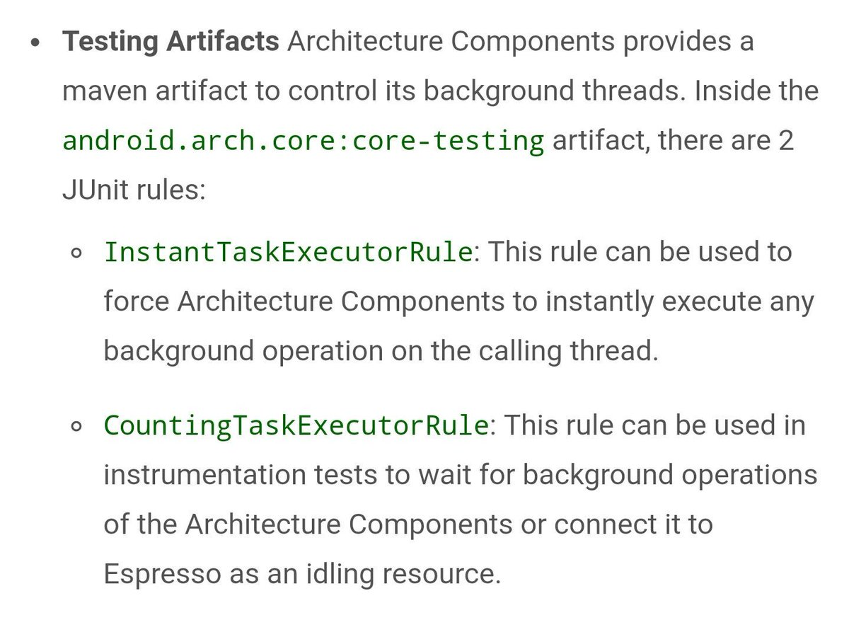 Happy to see that the architecture components also provide #junit rules to make testing them easier. #androiddev <br>http://pic.twitter.com/UTbSc4KfmJ