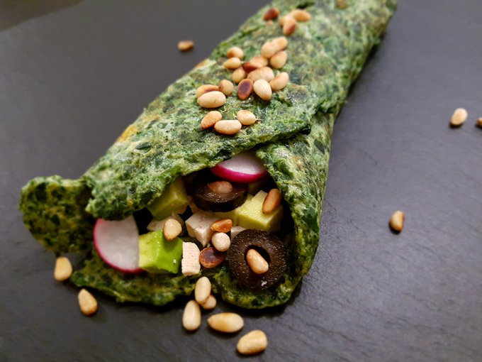 Spinach omelette wrap