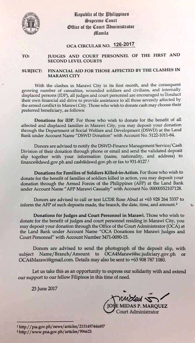 READ: SC encourages judges and court personnel to conduct financial aid drives for those affected by the #MarawiClash. | via @JohnsonDZMM
