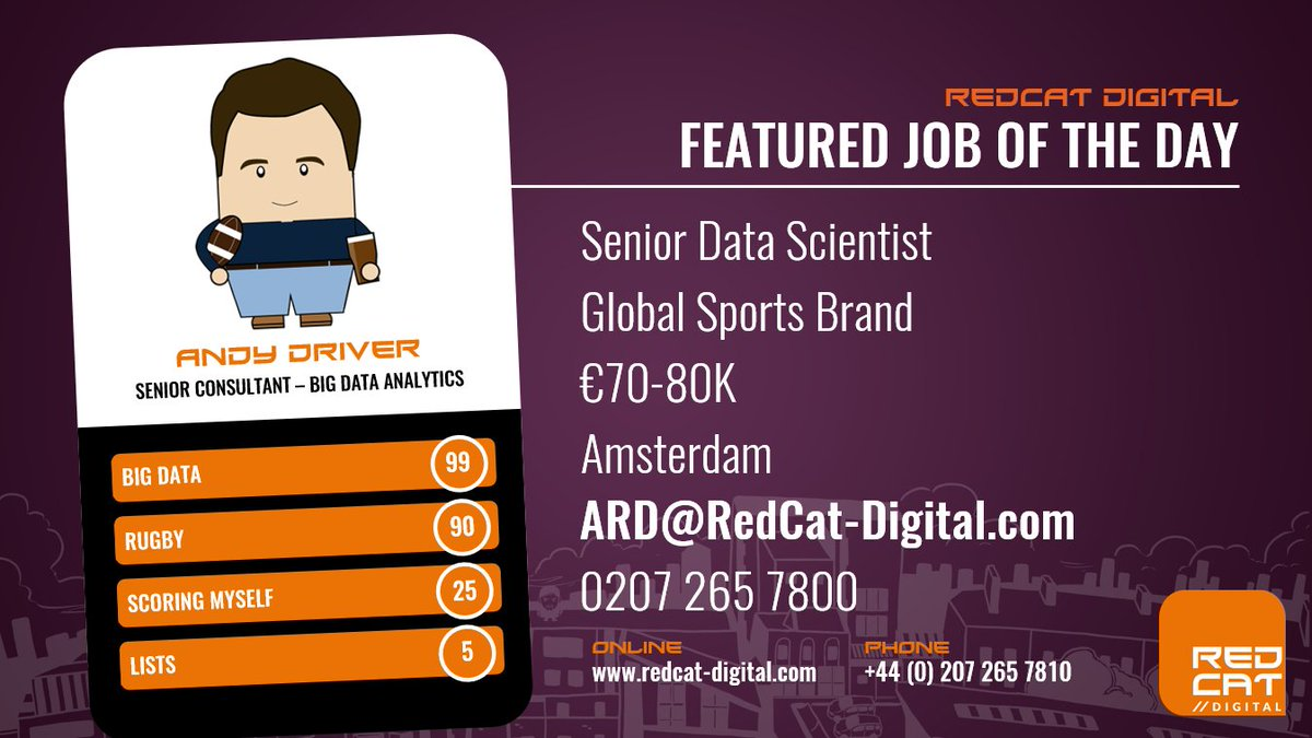 Senior Data Scientist wanted in #Amsterdam to work for a global sports brand #bigdata #datascience #datascientist  http:// bit.ly/2tVLpJp  &nbsp;  <br>http://pic.twitter.com/NYORbVieBF