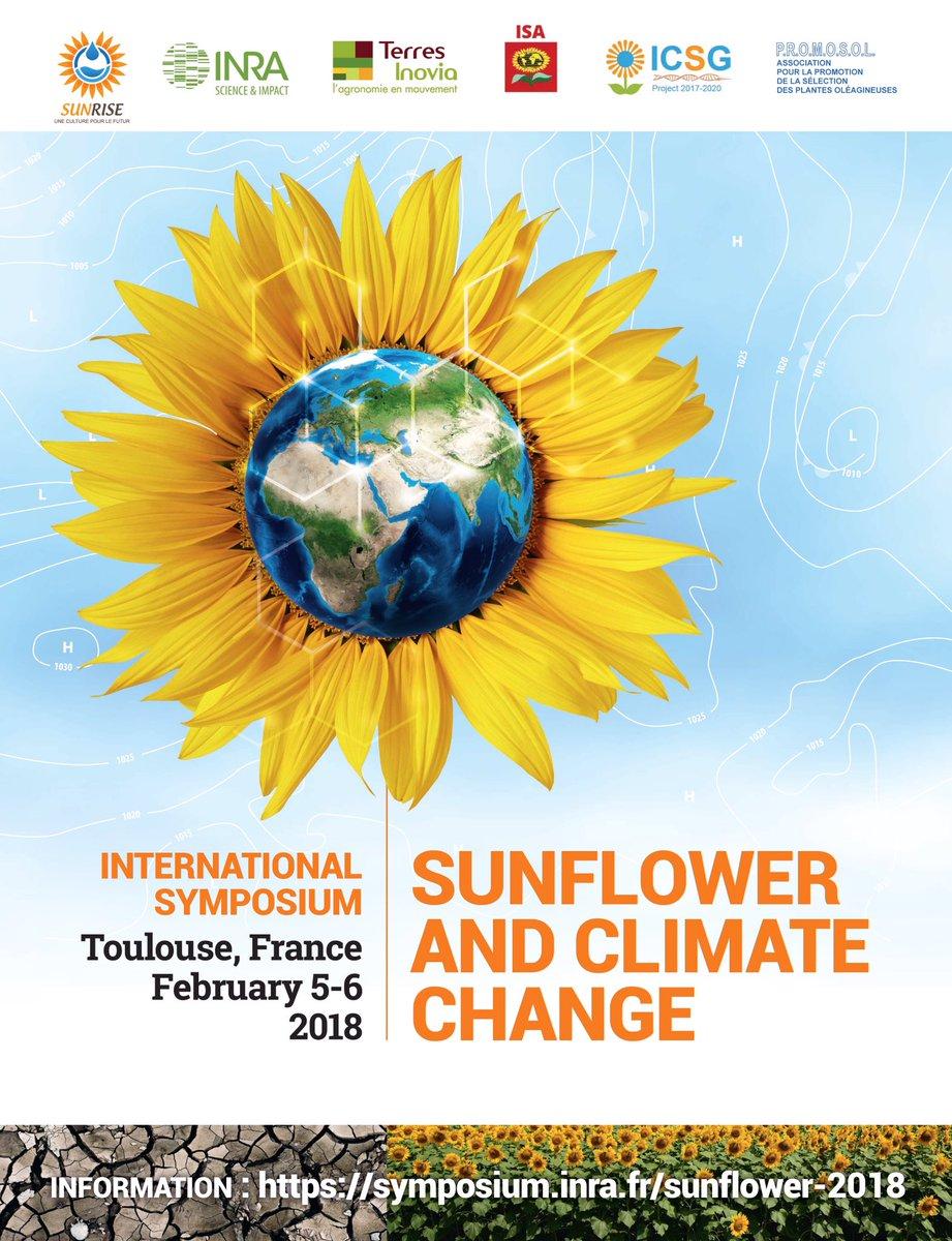 [#Savethedate]5-6 feb 2018 International Symposium on #Sunflower &amp; #climatechange #Toulouse   http:// url.inra.fr/2t1rc8L  &nbsp;   @SUNRISE_France<br>http://pic.twitter.com/zH6oKDxYGY