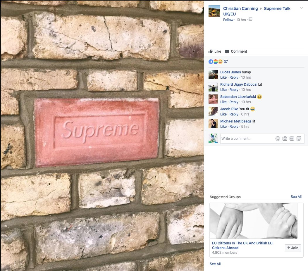 Someone's has actually used the Supreme brick https://t.co/NWYavJqBs5