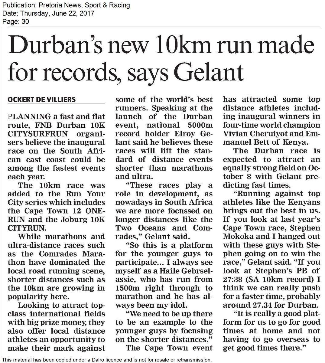 &quot;Durban&#39;s new 10km run made for records, says Gelant&quot; @PretoriaNews, 22 Jun 2017 #D10KRun #RunThe031 #Press #Media<br>http://pic.twitter.com/VPnuYRmbl0