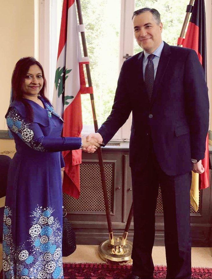 Ambassador Jameela met Ambassador of Lebanon to discuss bilateral ties and #Maldives multilateral engagements with #Lebanon . <br>http://pic.twitter.com/CSuWBsnDMH
