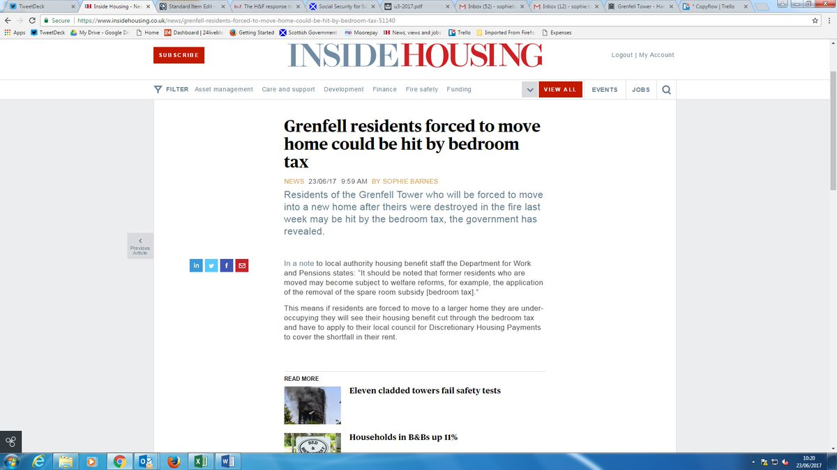 Grenfell residents forced to move home could be hit by bedroom tax https://t.co/mvVmCrR66v