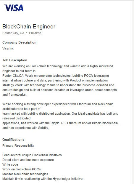 Another positive future aspect of #Blockchain and #Ethereum : #VISA deploying Ethereum and Block-Chain Developer for building DApps. <br>http://pic.twitter.com/wEw7UoZn4n