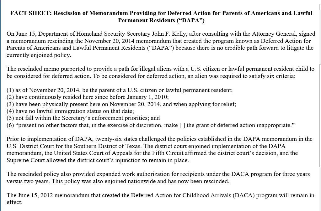 Huge story now breaking, the Trump Administration doing away with DAPA, DACA stays
