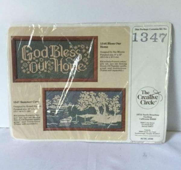 Creative Circle Summer Cove Sampler Lace Net Cross Stitch Kit 1347