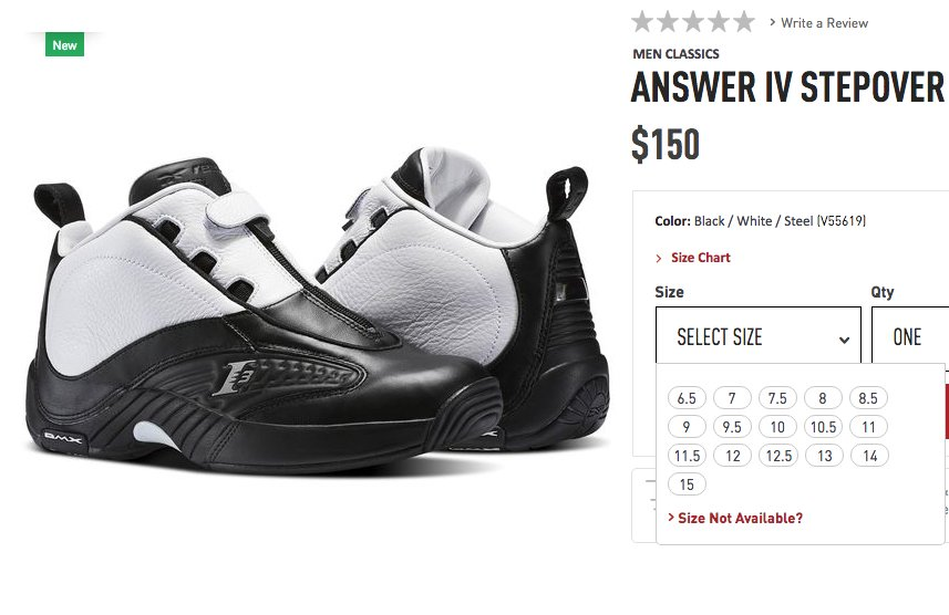 reebok answer 10 argent